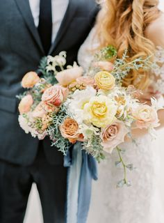 Dahlia, rose and ranunculus wedding bouquet: http://www.stylemepretty.com/california-weddings/long-beach-ca/2017/03/10/luxe-wedding-inspiration-for-the-modern-couple/ Photography: Sposto - http://spostophotography.com/