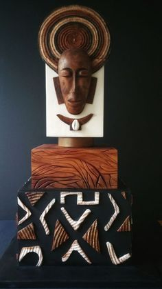 African Art - cake by Design Moi Un Cake African Wedding Cakes, African Wedding Theme, African Theme, African Art, African Design, Crazy Cakes, Fancy Cakes, Africa Cake, Mounds Cake
