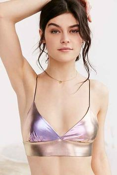 UrbanOutfitters.com: Out From Under Skinny Strap Metallic Bra Top - $29 Size Small!