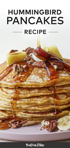 Eat your favorite Southern cake for breakfast with our recipe for Hummingbird Pancakes with bananas, pecans, and crushed pineapple. #summer #summerrecipes #breakfast #brunch #pancakes #pancakerecipes #southernfood #southerncooking #comfortfood #dessertforbreakfast #classicrecipes #hummingbirdcake