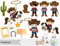 Vaquero Digital Clip Art, Clipart digitales Cowboys, lindo niño vaquero Digital Clipart, Wild West Clip Art, Clipart de vaqueros Wild West 0185