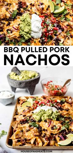 BBQ Pulled Pork Nachos are made up of a giant pile of layered tortilla chips that are loaded with juicy shredded meat, filling black beans, all our favorite toppings, and of course lots of melty cheese!   easy bbq pulled pork nachos recipe   bbq pulled pork nachos loaded   bbq pulled pork nachos with queso   pulled pork nachos recipe easy   pulled pork nachos recipe tortilla chips   loaded pulled pork nachos recipe   recipes for watching football Easy Pulled Pork, Pulled Pork Nachos, Smoked Pulled Pork, Pulled Pork Recipes, Easy Appetizer Recipes, Best Appetizers, Dinner Recipes, Bbq Pork, Pork Ribs