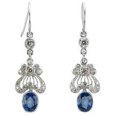 Edwardian Style Sapphire Diamond Gold Earrings | From a unique collection of vintage dangle earrings at https://www.1stdibs.com/jewelry/earrings/dangle-earrings/