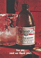 Budweiser Beer, We Thank You 1970 Ad Picture