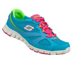 Skechers Flex EZ FLEX - INTRICATE Women's Shoes TURQUOISE/HOT PINK 22252TQHP | eBay