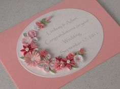Wedding congratulations card, quilled flowers, personalized with names and date, paper quilling