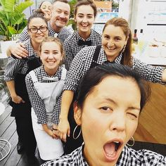 Poolside Cafe in Sydney are rocking the Gingham!! | Seen here in their Cargo Crew Uniforms - Frankie Check Shirts matched with both Black and White Deluxe Canvas Aprons | Waiters Uniforms
