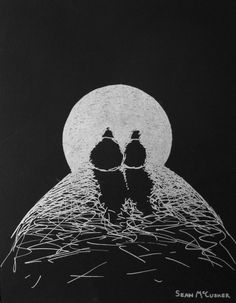easy black paper drawings - Google Search