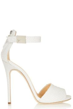 Giuseppe Zanotti Coline snake-effect leather sandals - ShopStyle Shoes Giuseppe Zanotti Heels, Zanotti Shoes, Designer Wedding Shoes, Designer Shoes, White Wedding Shoes, Bride Shoes, Pretty Shoes, Beautiful Shoes, Fashion Heels