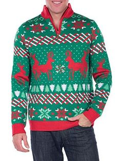 Tipsy Elves Men's Christmas Passion Sweater - Humping Reindeer Ugly Christmas Sweater