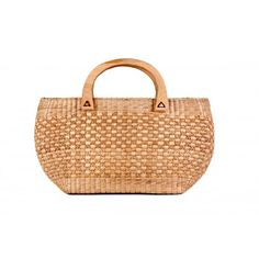 Gorgeous Beige Bamboo Cane Hand Bag