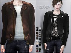 Leather jacket with edited EA Mesh for male sims in 30 variations (10 jacket colors / white, black and patterned shirts for each jacket). Found in TSR Category 'Sims 4 Male Everyday'