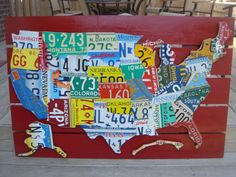 License Plate Map Wall Decor In Kitchen Etsy License Plate Art - License plate usa map