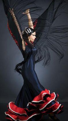 Flamenco Dress, flamenco dance blue, red and white ruffled dress with LED lights Spanish Dress, Spanish Dancer, Tango, Shall We Dance, Lets Dance, Flamenco Dancers, Ballet Dancers, Dance Movement, Foto Art