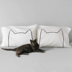 Cat Nap Pillowcase in White by Xenotees - these are so cute