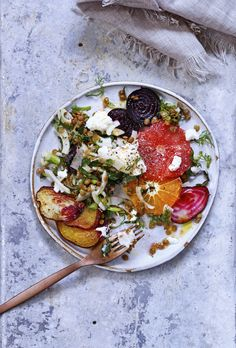 Ricotta and blood orange salad with lentils and shaved fennel Photography by Casey Lazonick Recipe and styling by Liberty Fennell Props by Cynthis Blackett