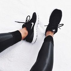 pinterest: @lilyosm | leather black leggings nike black tennis shoes workout running fit fitness fitspo motivation
