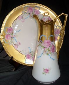 Antique Limoges Handpainted Porcelain Chocolate Pot + Cake Plate Roses, Blue Ribbons, Heavy Gold - ca 1893 Incredible Flambeau France Decorative Art Objects - Late 19th Century French Porcelain