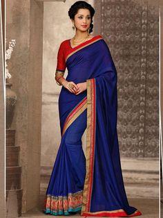 Blue Designer Saree in Manipuri Silk