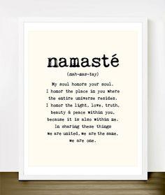 Namaste Quote Typography Art Print by Merci Merci - modern - artwork - Etsy
