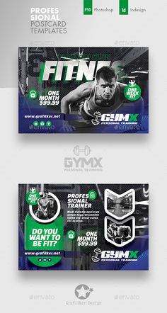 Buy Fitness Trainer Postcard Templates by grafilker on GraphicRiver. Fitness Trainer Postcard Templates Fully layered INDD Fully layered PSD 300 Dpi, CMYK IDML format open Indesign o. Youtube Banner Design, Web Banner Design, Web Ui Design, Social Media Banner, Social Media Design, Printable Banner, Banner Template, Fitness Flyer, Poster Background Design