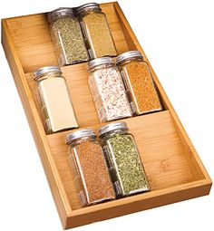 Tidy your spice bottles and jars with Seville Classics' Bamboo Spice Rack Cabinet Drawer Tray Organizer. Constructed of solid all-natural, attractive bamboo. Rack features three slanted shelves, angled so that jar labels can be read easil Drawer Spice Rack, Wood Spice Rack, Magnetic Spice Racks, Drawer Storage, Do It Yourself Organization, Spice Organization, Kitchen Cabinet Organization, Organizing Ideas, Kitchen Cabinets