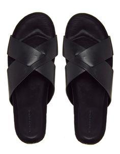 <3 Love: VAGABOND Black Leather Slides