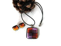 fused glass necklace fused glass earrings by Homeforglasslovers, $30.00