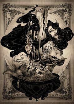 Today our first art inspiration goes to Japanese artist ONEQ and her pin-up collection mixing a pop style with an underground flavor. Dark Fantasy Art, Dark Art, Gothic Art, Pin Up Art, Up Girl, Cool Art, Art Drawings, Illustration Art, Sketches