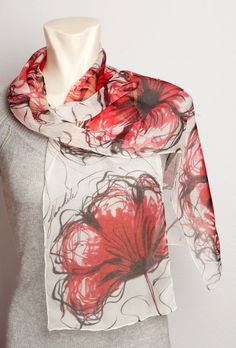 Unique Hand Painted Real Silk Chiffon Scarf with by LigaKandele