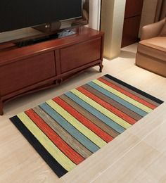 Imperial Knots Rust Stripes Flatweave Rug