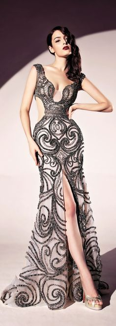 Dany Tabet ~ Sleeveless High Front Open Gown,  Black,  2015