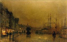 I adore the feeling of the clouds after the rain as twilight descends upon shoppers and ships. John Atkinson Grimshaw - WikiArt.org