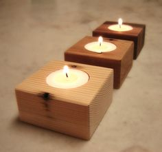 Three Wood Candle Holders From Reclaimed Cedar Wood #crafts #homedecor