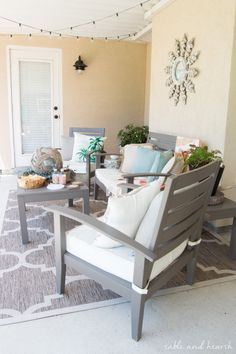 Coastal Summer Patio Decor - Rustic touches and a little whimsy bring this beautiful backyard patio to life for a summer party, night or day! Outdoor Rooms, Outdoor Chairs, Outdoor Living, Outdoor Decor, Outdoor Stuff, Adirondack Furniture, Outdoor Furniture Sets, New Home Designs, Backyard Patio