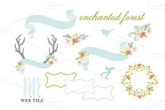 Check out Antlers, Flowers, & Ribbons Vector by kellyjsorenson on Creative Market