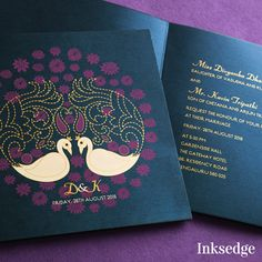 Plumes in Bloom Purple: Wedding Invitation Cards Give your wedding invitation card an elegant and regal touch with this timeless masterpiece. Printed on a rich purple paper this Plumes in Bloom card screams royal the moment you see it. #Weddingcard #invitationcard #designerweddingcard #weddingplanning #wedding #watercolor #yourareinvited #minimal