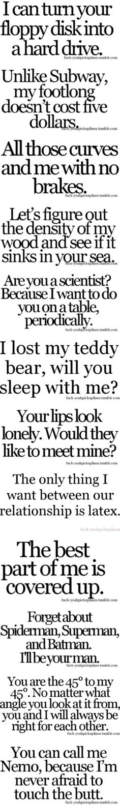funny pick up lines for guys dirty