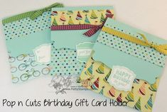 www.PattyStamps.com - Gift Card Holders for birthdays or adapt to any occasion with different designer paper