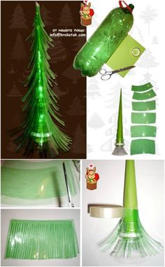 Plastic Bottle Tree - 20 Genius DIY Recycled and Repurposed Christmas Crafts Recycled Christmas Decorations, Recycled Christmas Tree, Plastic Christmas Tree, Christmas Diy, Modern Christmas, Xmas Decorations, Crafts From Recycled Materials, Recycled Decor, Upcycled Crafts