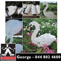 Swan Garden Decorations Using Plastic Bottles. Great way to #reduce, #reuse and recycle! Get all your DIY supplies from Pennypinchers George! #diy