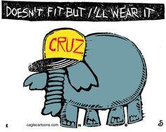 Randall Enos - Cagle Cartoons - The Cruz Fit COLOR - English - ted cruz,republican candidates,2016 elections