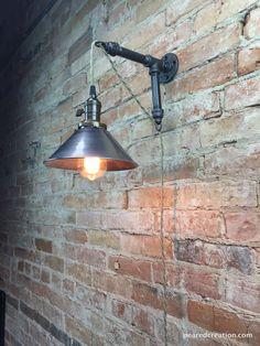 Industrial Style Sconce  Pendant Lamp  Metal door newwineoldbottles