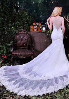 Robe de Mariée Classique-Robes De Tulle De Mariée Sirène élégante Profonde…