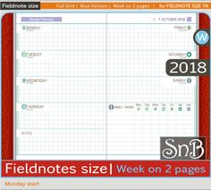 SnB FN - Full Grid Blue - Week on 2 pages - Monday - 2017 / 2018 - Printable Weekly inserts for Traveler's Notebooks by MarsiaBramucci on Etsy
