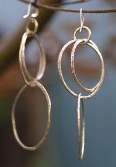 Large Hammered Sterling Silver Hoop Earrings