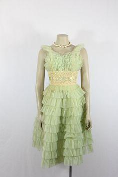 Vintage Prom Dress Mint Green by VintageFrocksOfFancy Vintage Party Dresses, Vintage Prom, Prom Party Dresses, Chiffon Skirt, Silk Chiffon, Party Frocks, Diamond Dress, Full Skirts, Mint Green