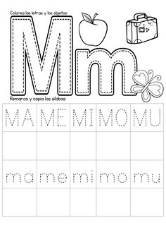 Alphabet Letter Tracing On Primary Writing Lines Preschool Letter M, Preschool Writing, Preschool Education, Spanish Lessons For Kids, Spanish Teaching Resources, Tracing Sheets, Tracing Letters, Writing Lines, Pre Writing