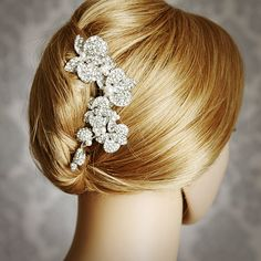 LORRAINE, Vintage Inspired Wedding Hair Comb, Blooming Orchids Bridal Hair Comb, Pearl and Rhinestone Wedding Hair Accessories, Bridal Comb. $86.00, via Etsy.