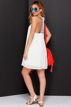 Ivory Dress - Embroidered Dress - Casual White Dress - $49.00